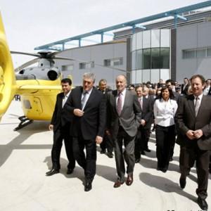King Juan Carlos I visits Eurocopter Spain factory at Albacete