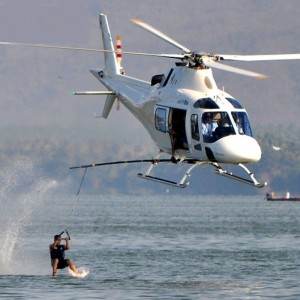 Barefoot waterski speed record broken – behind an AW119