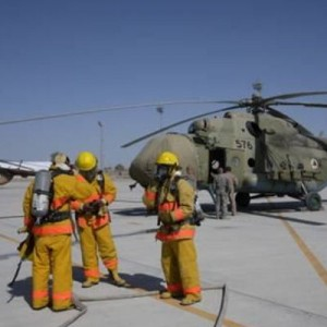 Kandahar Airfield Fire Dept takes part in a Mi-17 Exercise