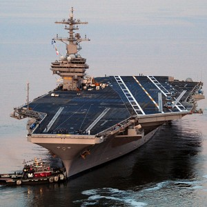 Royal Navy helicopters exercise with USA's newest aircraft carrier
