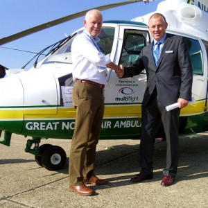 Multiflight hands over third Dauphin to Great North Air Ambulance