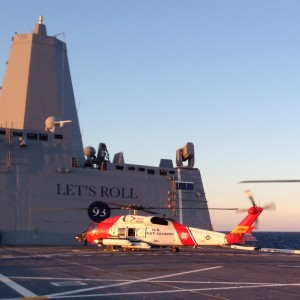US Coast Guard helicopters train aboard the US Navy's newest warship