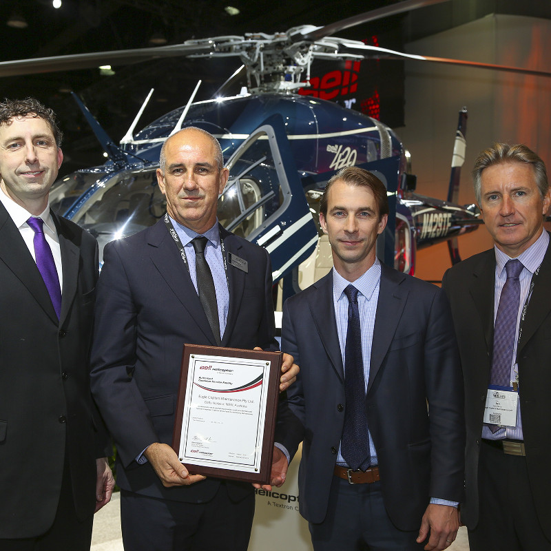 From Left to Right: Glenn Isbell, Executive Vice President, Customer Support and Services for Bell Helicopter; Grant Boyter, CEO, Eagle Copters Australasia; Neil Jones, Manager of Bell Helicopter's Customer Service Facility Network; Ian D'Arcy, Vice President of Operations, Eagle Copters Australasia