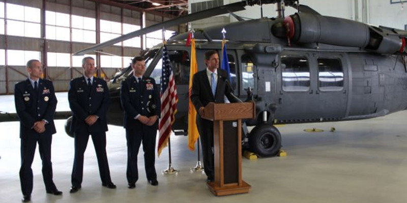 U.S. Senator Martin Heinrich with (left to right) Col. Tony Haught, Vice Commander of the 377th Air Base Wing; Col. Rob Reyner, Commander of the 150th Special Operations Wing - N.M. Air National Guard; and Col. Dagvin Anderson, Commander of the 58th Special Operations Wing