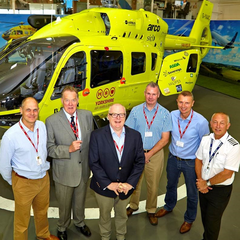 From Left - Captain Andy Lister (Director of Flight Operations), Peter Sunderland (Chairman), Bruce Burns (Vice-Chairman), Mike Shanahan (Head of Special Operations, Yorkshire Ambulance Service), Pete Vallance (Clinical Operations Manager) and Captain Andy Hall (Pilot)