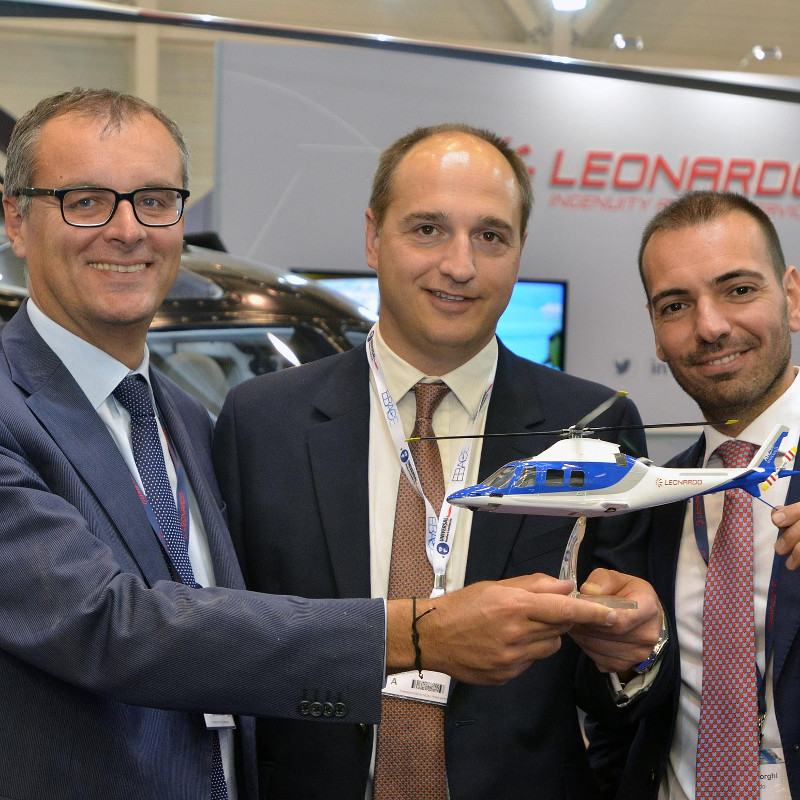 Leonardo Europe and commercial business unit VP Andrea Mirteto, Sloane Helicopters sales and marketing director John Parnell and Leonardo sales manager for Northern Europe Jacopo Borghi. Photo credit Aviation Week Show News