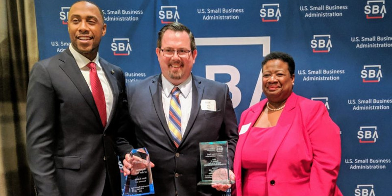 From Left to Right: SBA Region IV Administrator Ashley D. Bell, Rotorcorp President Sean T. Casey, SBA District Director Terri Denison