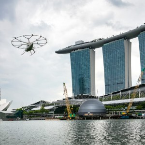 Volocopter air taxi flies over Singapore
