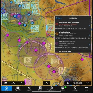 Garmin Pilot Adds Graphical Airspace and Obstacle NOTAMs