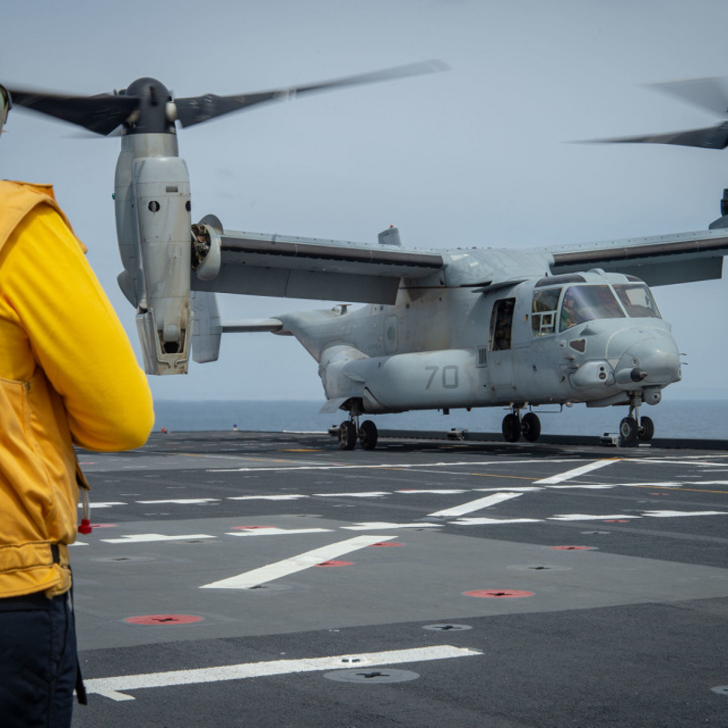 USNS Mercy Conducts First Ever Flight Deck Landing of V-22 Osprey