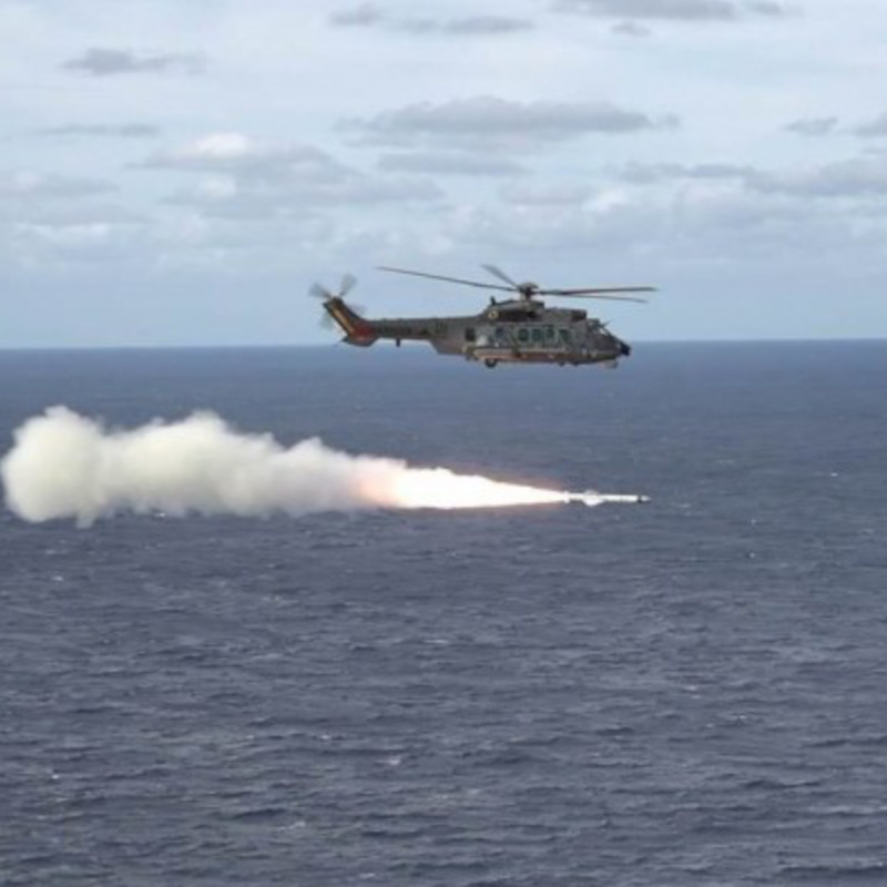 Helibras fly H225M tests with the Exocet AM39 B2M2 missiles