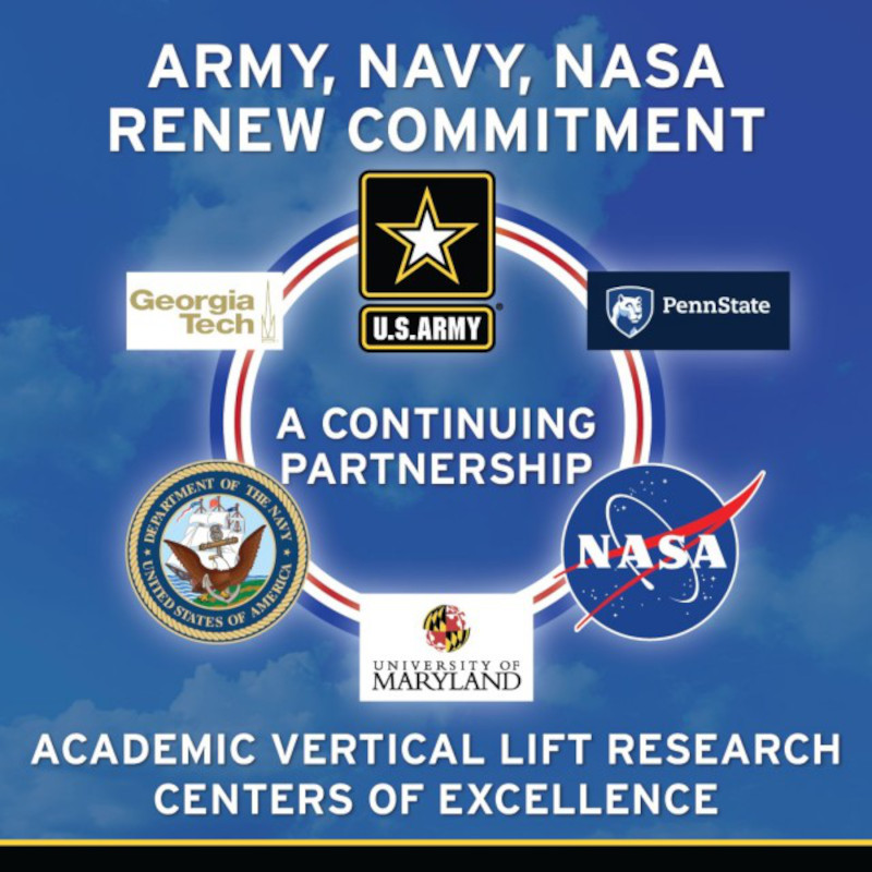 US Army, US Navy, NASA renew commitment to academic Vertical Lift Research Centers of Excellence