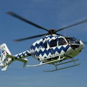 Eurocopter shows EC135 with artist paint scheme at Monaco Yacht Show