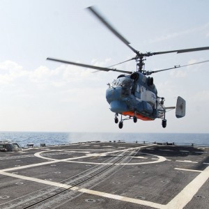 Ukrainian Navy KA-27 Helix helicopter lands on US Navy frigate