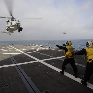 MH-60R conducts Deck Landing Qualifications on USS Freedom