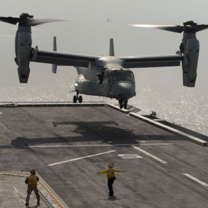 Ospreys Land On Korean Amphibious Assault Ship