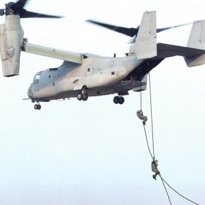 II Marine Expeditionary Force rappel out of Osprey for training
